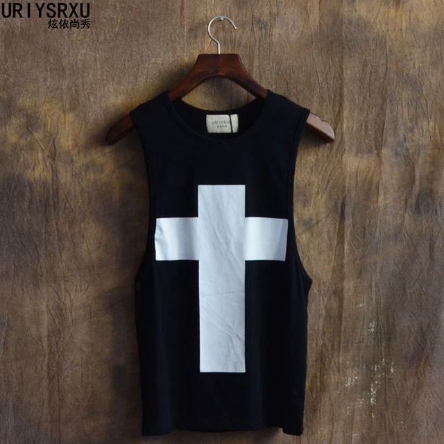 Fashion Cross Printed Loose Big Yards T Shirt Size Vest Round Collar Comfortable Hip-hop Style T Shirts