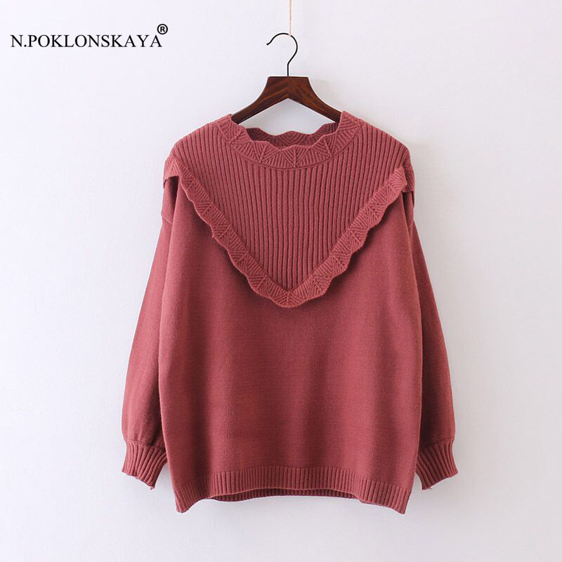 N.POKLONSKAYA Women Loose Sweaters O Neck Ruffles Elegant Jumper Pullover Long Sleeve Female Autumn Winter Tops Casual Knitwear