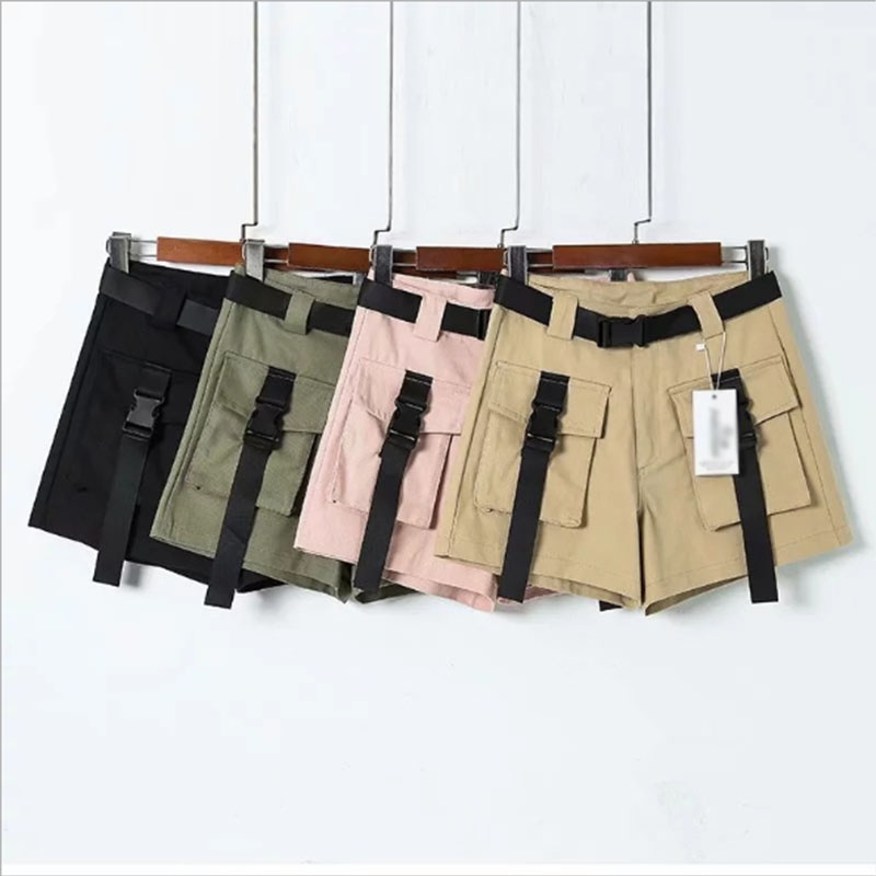 Explosion models Harajuku Port wind high waist shorts spring and summer new streamers pocket bag buckle hip hop overalls women pocket