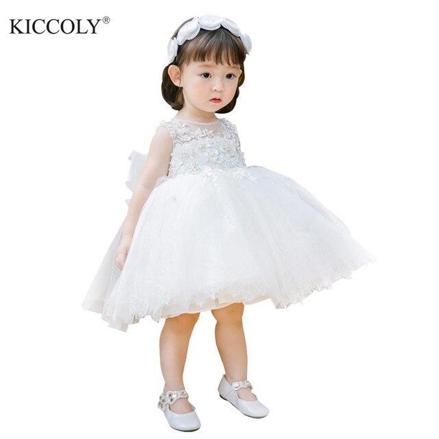 Weiß Tüll Perlen Floral Prinzessin Neugeborenen Baby Mädchen Kleid Taufe 1 Jahr Geburtstag Taufe Kleid für Säugling Festzug Party Kleid