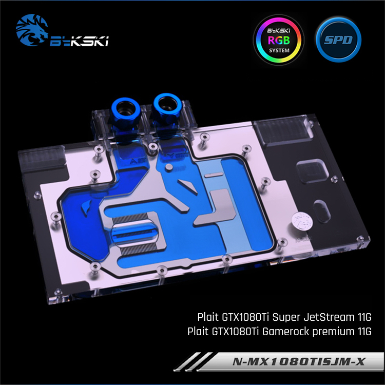 Bykski N-MX1080TISJM-X, bloc de refroidissement à l'eau de carte graphique à couverture complète pour Palit GTX1080Ti Super JetStream/GameRock