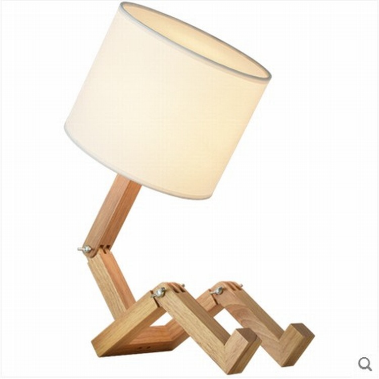 Table Lamps for bedroom Wooden Robot Shape E27 Lamp Holder Modern Cloth Art Wood  Desk Table Lamp Parlor Indoor Study Night Light - buy at the price of  $43.00 in aliexpress.com |