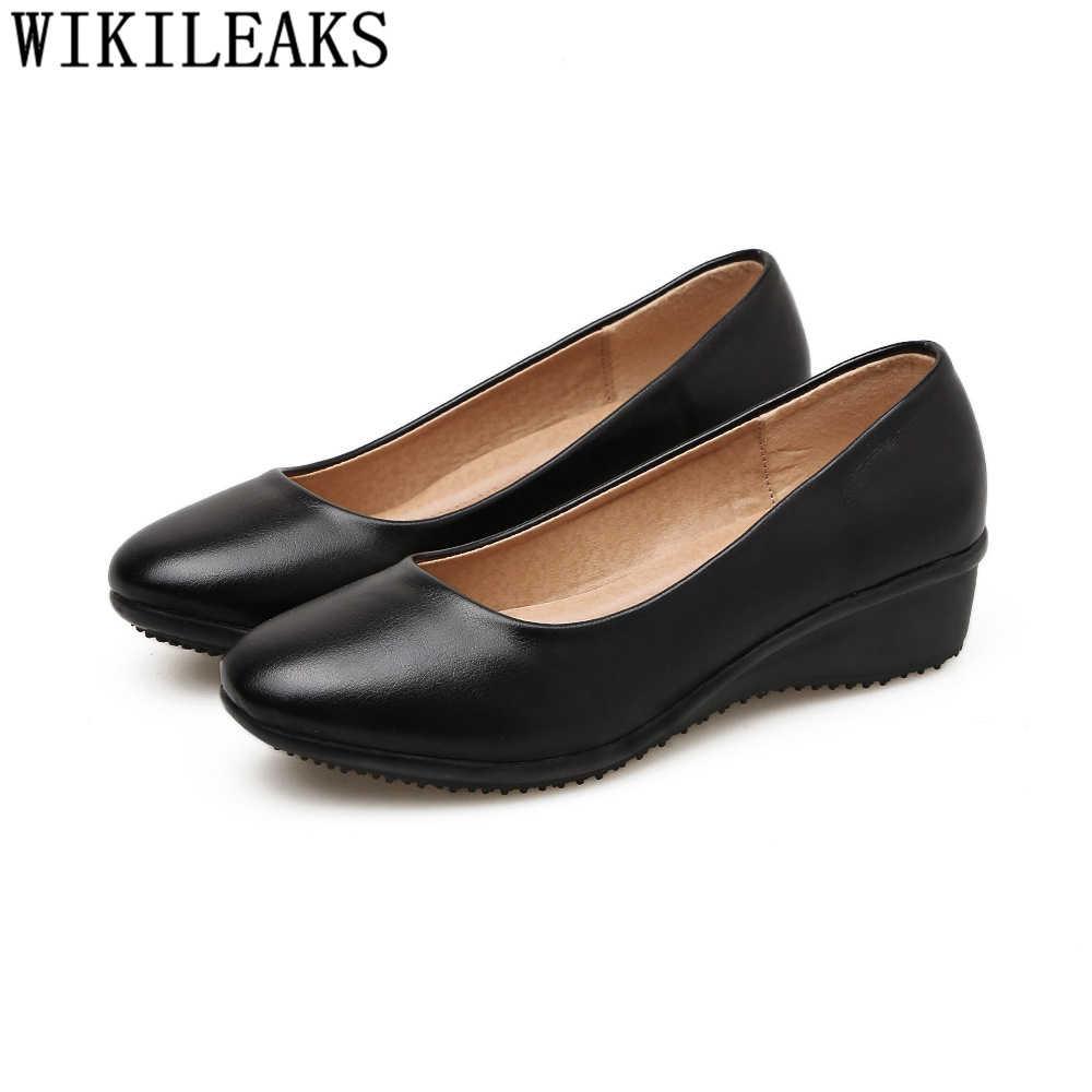 Nero pompa i pattini delle donne fetish tacchi alti zeppe scarpe per le donne signore ufficio tacchi alti scarpe da donna sexy tacchi alti ayakkabi