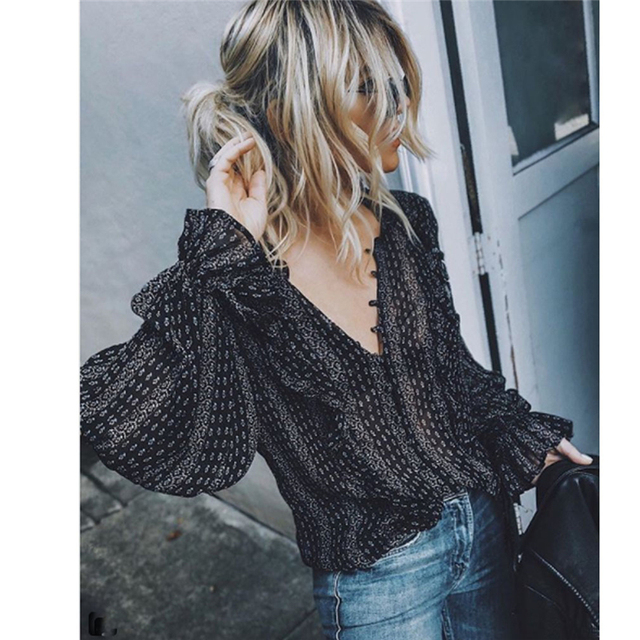 Casual Long Sleeve V-Neck Striped Blouses 2