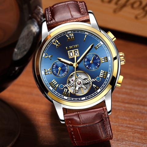 LIGE Mens Watch Top Brand Luxury Automatic Mechanical Watch Men Clock Tourbillon Waterproof Sport Watches Relogio Masculino gift Islamabad