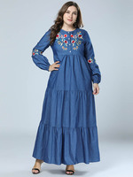 Women's New Tall European and American Trim Swagger Embroidery Cowboy Dress