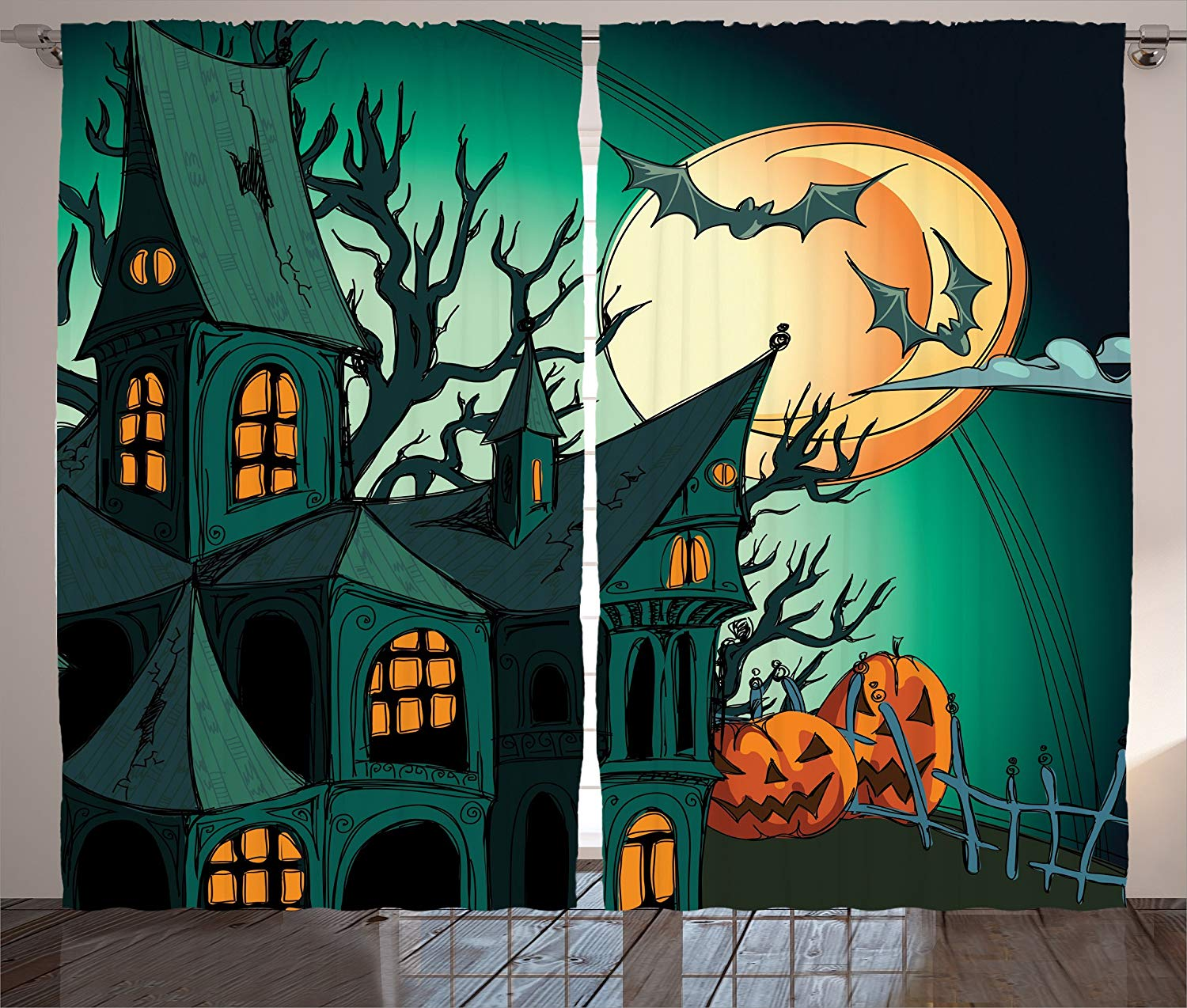 Halloween Curtains Haunted Medieval House Theme Cartoon Bats In