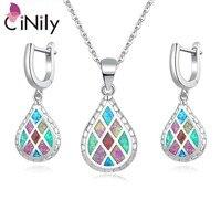 CiNily Rainbow Fire Opal Jewelry Set Silver Plated Green Blue Pink Water Tear Drop Earrings Pendants Necklaces Gifts Girls Women