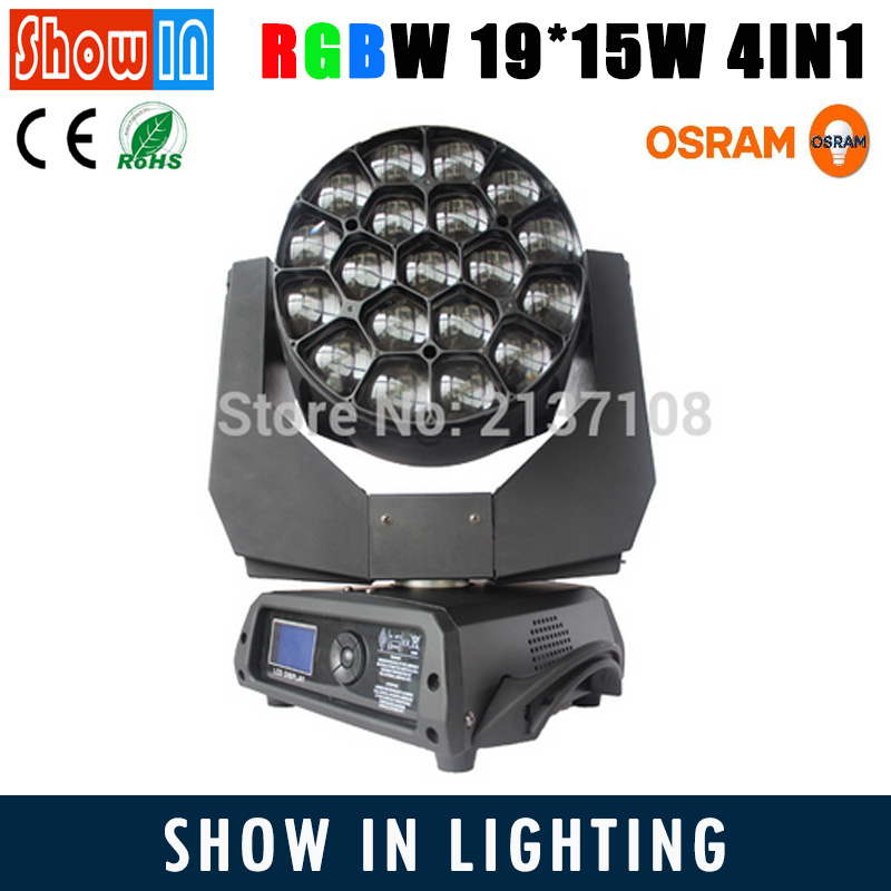 Osram Ostar Wash Beam Zoom LED Big Eye Moving Head 19x15W RGBW Rotating Paneles DMX DJ Disco Party Wedding Stage Lighting 6pcs lot white color 132w sharpy osram 2r beam moving head dj lighting dmx 512 stage light for party