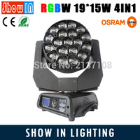 Osram Ostar Wash Beam Zoom LED Big Eye Moving Head 19x15W RGBW Rotating Paneles DMX DJ Disco Party Wedding Stage Lighting