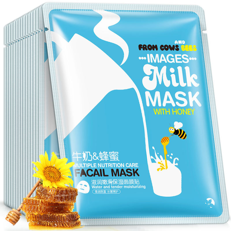 Images 1Pcs Milk And Honey Hydrating Moisturizing Mild Repair Facial Skin Oil Control Sheet Mask For Face Brightening Nourishing