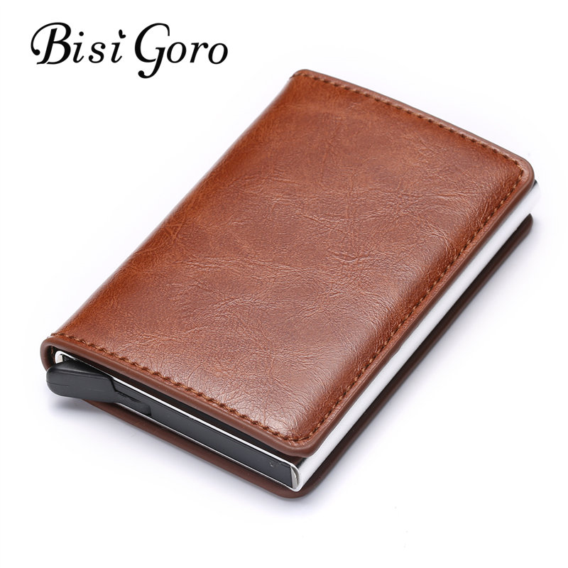 Bisi Goro 2019 Blocking Wallet RFID Credit Card Holder Black Card Holder Aluminum Slim Metal Card ID Holder Dropshipping