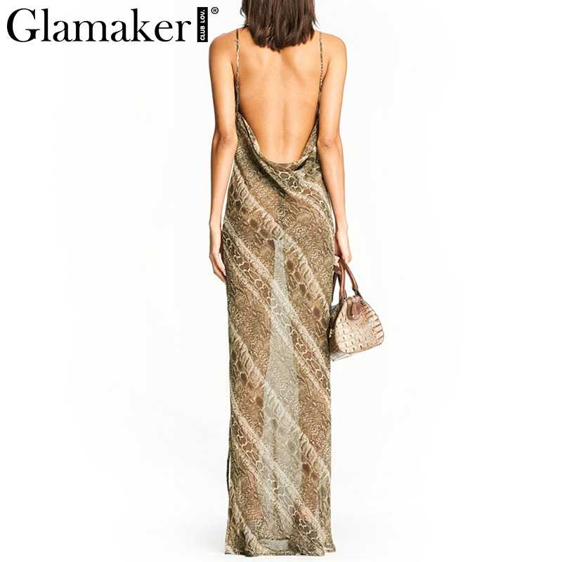 ... Glamaker snake print transparent sexy maxi dress Women backless split  loose beach sundress Elegant female sleeveless ...
