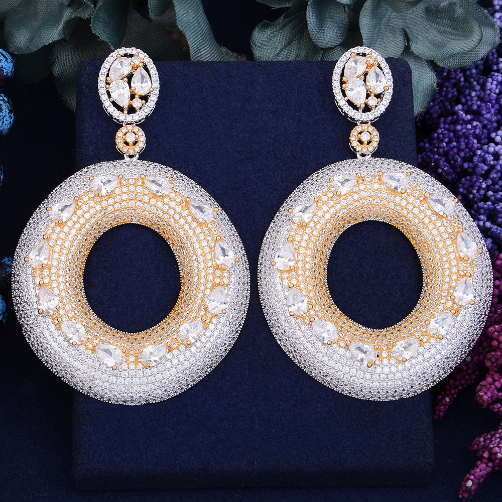 GODKI 75mm Exclusive Super Shinning Luxury Round Geometry Full Mirco Paved Cubic Zirconia Naija Wedding Earring