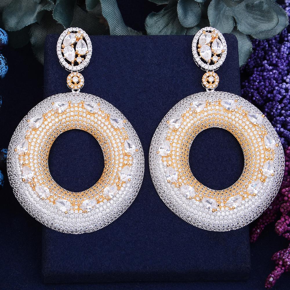 GODKI 75mm Exclusive Super Shinning Luxury Round Geometry Full Mirco Paved Cubic Zirconia Naija Wedding Earring Fashion Jewelry