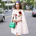 Известный Twinset Случайный 2017 Осень Мода Новый Рукавов Блестками Вышивка Плащ + Роуз Печати Роскоши Наборы