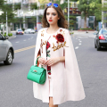 Famous Twinset Casual 2017 Autumn Fashion New Sleeveless Sequined Embroidery Cloak +Rose Print Luxuries Sets