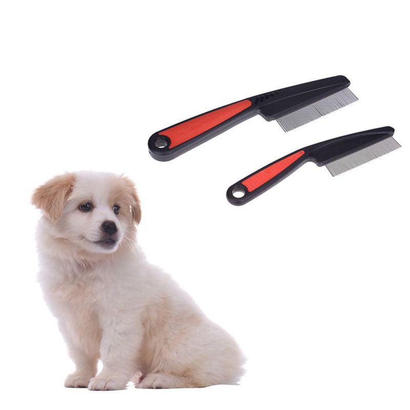 TOP!-Pet Dog Comb Remove Fleas Lice Stainless Steel Comb Dog Cat Hair Grooming Tool For Long-haired Medium-sized Dogs And Cats