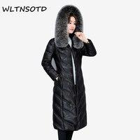 2017 New Women Winter Leather Down Jacket Female Long Slim Hooded Big Fur Collar Coat Female