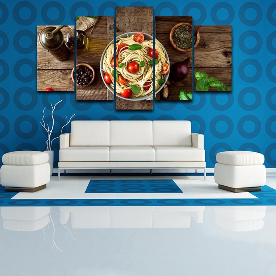 Modular Home Decor Canvas Pictures 5 Pieces Italian Cuisine Pasta ...