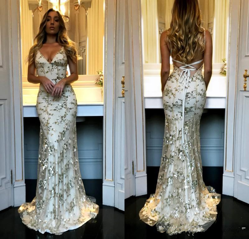 2019 New Spaghetti Straps Sequined Lace Mermaid Cheap   Prom     Dresses   Long Backless Criss Cross Floor Length Formal Party Evening