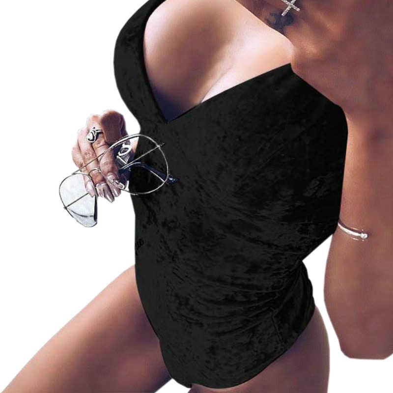 Сексуальные женские боди бархатные сексуальные боди-топ комбинезон с треугольным вырезом комбинезоны велюровые короткие комбинезоны костюмы Feminino Club Большие размеры GV032