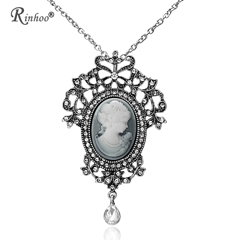 Rinhoo Necklaces & Pendants Jewelry For Women Vintage Cameo Queen Flower Beauty Head Crystal Pendant Necklace Sweater Long Chain