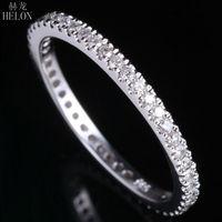 HELON 1,5 мм широкополосный проложить природных алмазов 0.33CT Обручение свадебные твердые 10 К кольцо из белого золота Для женщин Ювелирные алмаз