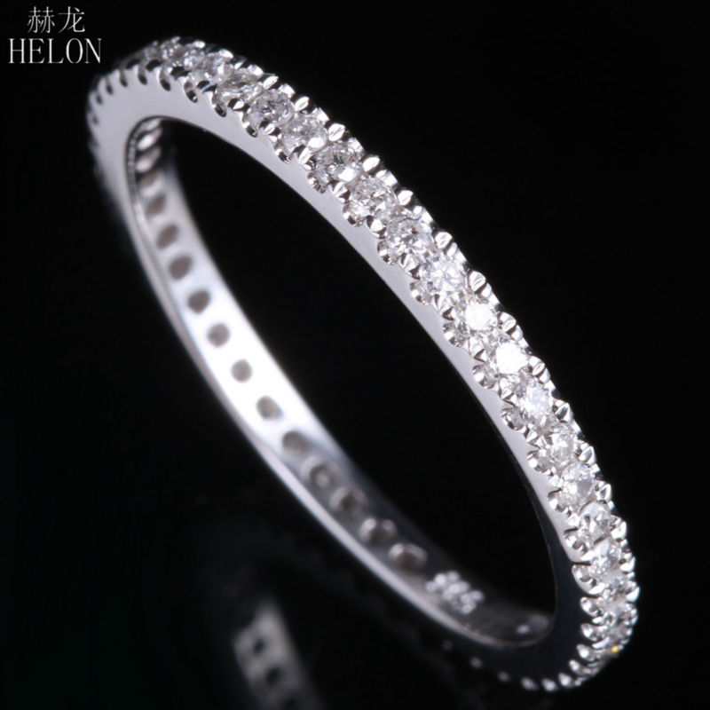 HELON 1.5mm Wide Band Pave Natural Diamonds 0.33CT Engagement Wedding Solid 10K White Gold Ring Women's Jewelry Diamonds Band