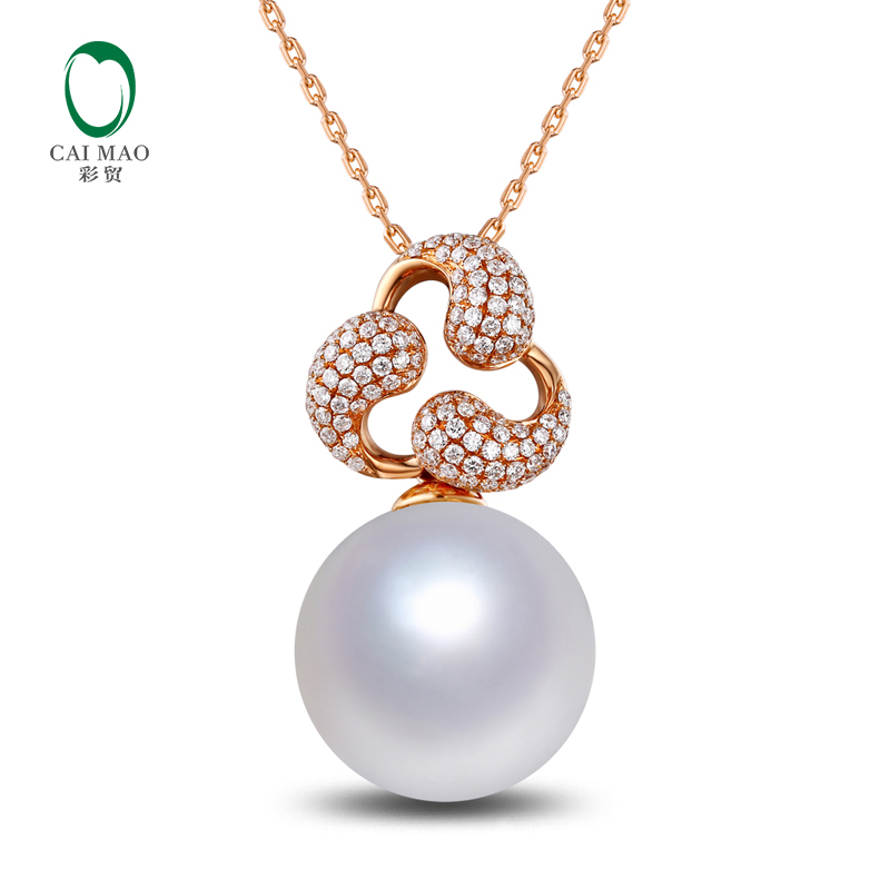 11mm Round White Pearl 14k Rose Gold Anniversary Engagement Pendant Free shipping