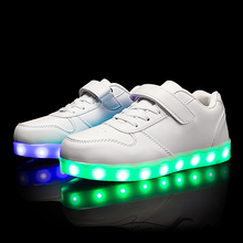 LED Sneakers Litter Children Shoes Boys Girls USB Charge PU Shoes Toddler Baby Light Up Sneakers Glowing Party Shoes Size 23-37 стоимость