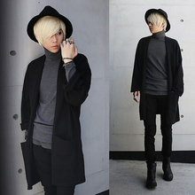 Cool punk rock gothic Cardigan t shirts men Long sleeve loose fit Black color Autumn Spring
