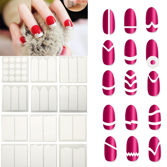 18Pcs/Lot Easy French Manicure Design Sticker Nail Tips Guide DIY ...