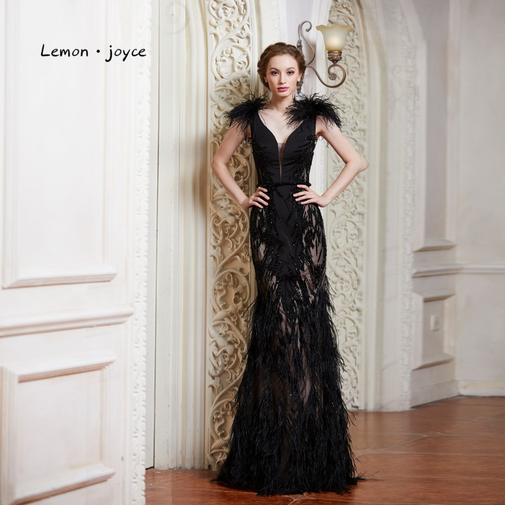 Lemon joyce Black Evening Dresses with Feathers 2019 Sexy V neck Backless  Party Prom Gown Formal Evening Dress Robe De Soiree-in Evening Dresses from  ... 073120c668cc