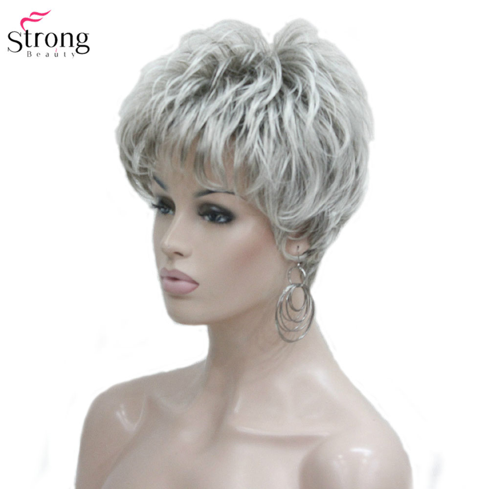 Image 2 - StrongBeauty Women's Wig Short Straight Pixie Cut Natural Hai Synthetic Capless Wig Gray/Red-in Synthetic None-Lace  Wigs from Hair Extensions & Wigs