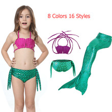 Neevas 3PCS / Set The Little Mermaid Tail Costume Princesa Ariel Niños Mermaid Tail Cosplay Kids For Girl Fancy Swimsuit