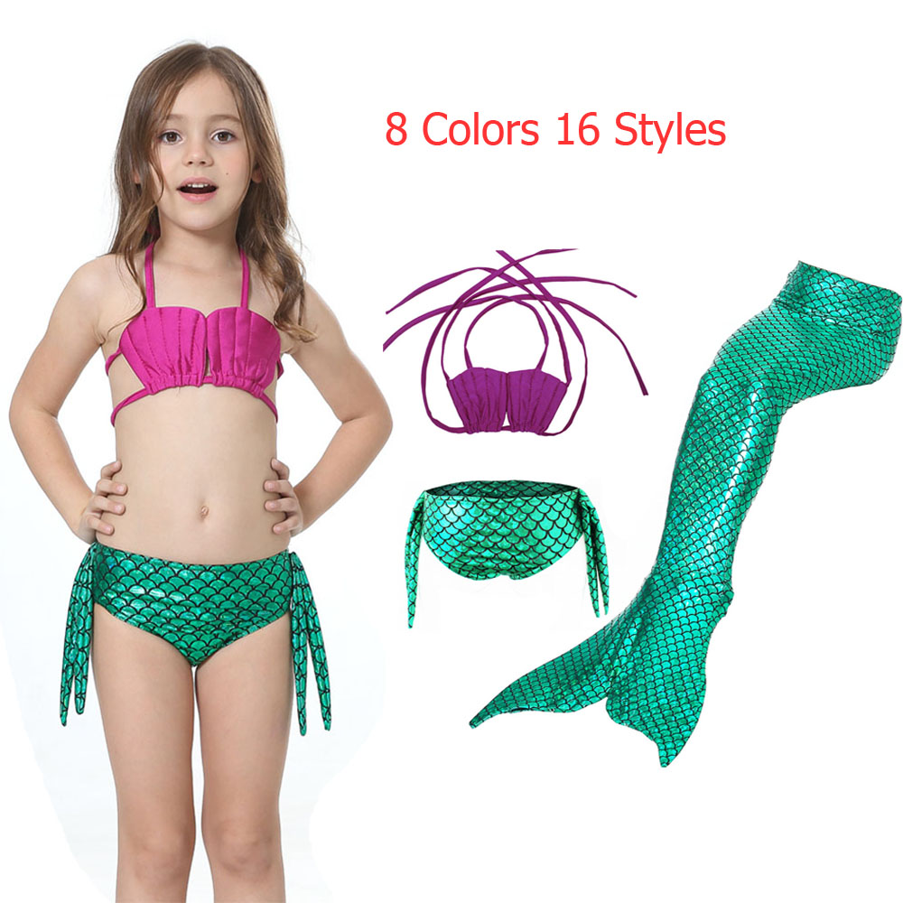 The Little Mermaid Tail Cosplay Mermaid Tail Swimsuit Ariel Princess Cosplay Costume Kids Children Fancy Swimsuit
