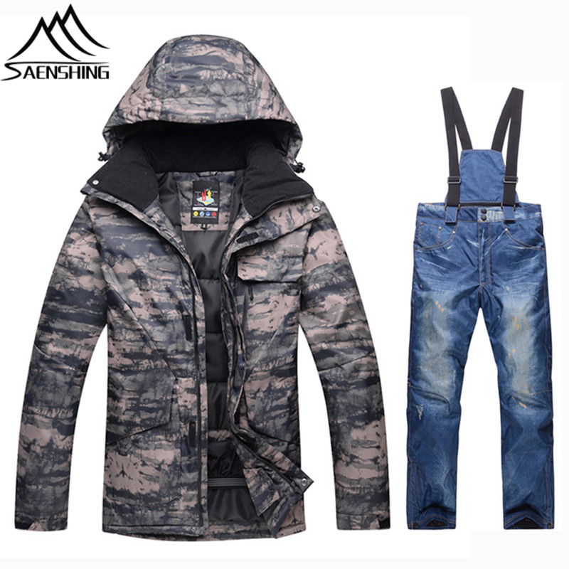 SAENSHING Ski Suit Men Snowboarding Suits Waterproof Super Warm Ski Jacket  Snowboard Pants Breathable Outdoor Ski Winter Suits 9b626389e