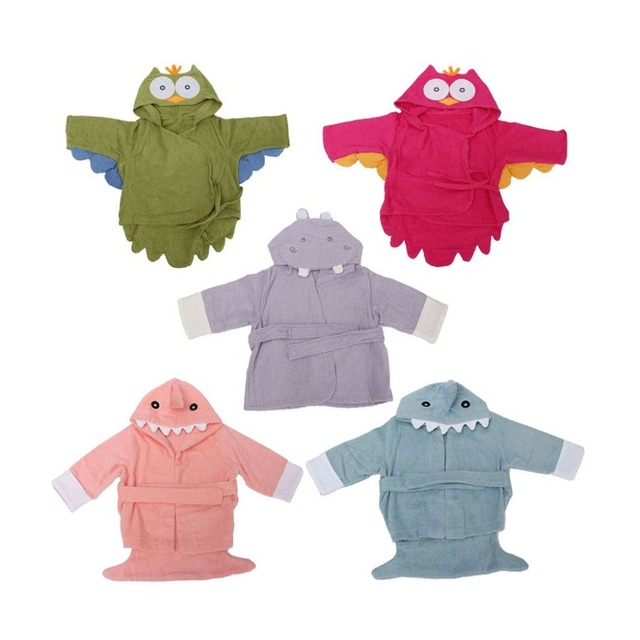 2016 nuevo hotsale 5 Colors100 % Cuttons Con Capucha Animal encantador Del Bebé Albornoz Bebé de la Historieta Niños Albornoz Toalla Infantil TQ8073