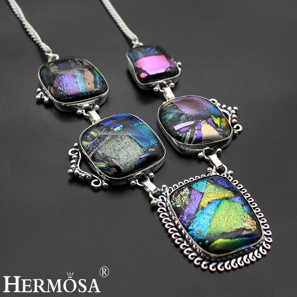 Hermosa Jewelry HUGE GLAMOROUS Rainbow DICHROIC GLASS 925 Sterling Silver Necklace 19 inches HN049