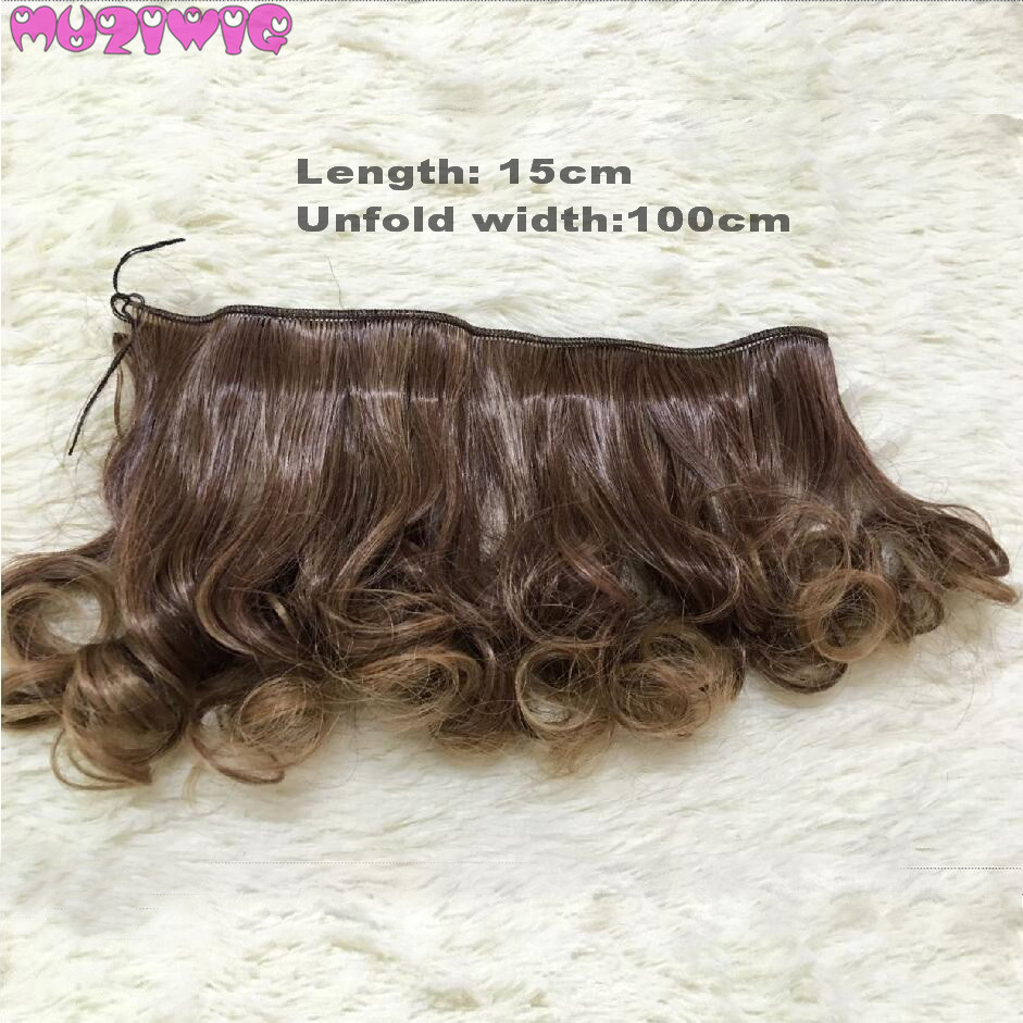 Muziwig Synthetic Fiber Water Waves Curly Hair Wefts For Bjd/blyth/american Dolls Diy Accessories Toys & Hobbies