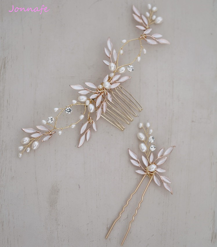 Jonnafe Boho Gold Leaf Bridal Hair Comb Wedding Headband Hair Accessories Freshwater Pearls Women Jewelry Hair Piece