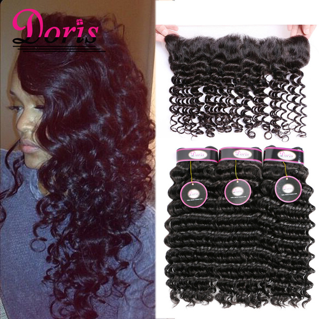 13x4 Lace Frontal With Bundles Brazilian Curly Virgin Hair Deep Curly Hair With Lace Frontal Natural Color ms here Raw Hair