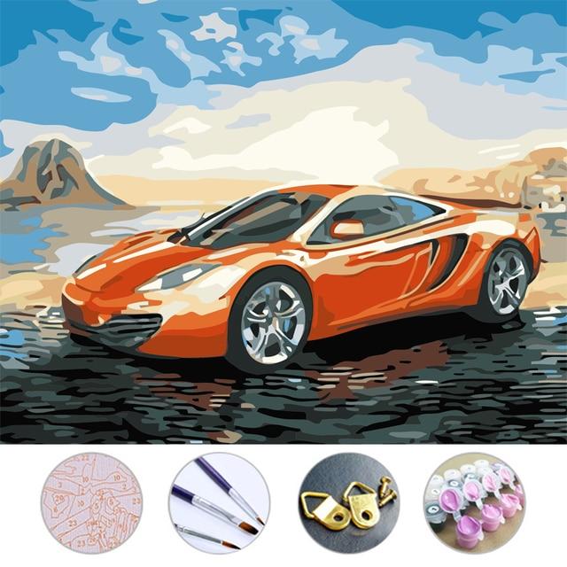 diy lgem lde sport auto zeichnung rahmenlose bild auf wand acryl malen nach zahlen auf der. Black Bedroom Furniture Sets. Home Design Ideas