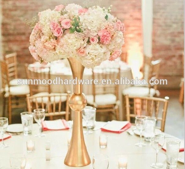 New Style Tall Gold Wedding Vases Centerpiece Gorgeous Flower Stands For Tables Iron