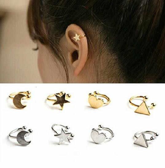 Nueva lista de moda imitación perla corazón amor estrella cinco puntas Luna triángulo forma sin piercings oreja hueso clip joyería 1 piezas