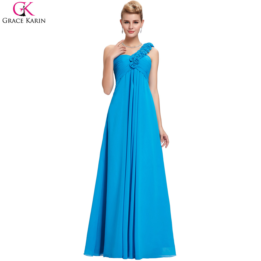 Grace Karin Red Evening Dress Long One Shoulder Flowers Plus Size ...