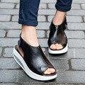 2017 designer mulheres plataforma sandálias sapatos de plataforma cunhas fivela sandálias de verão de couro genuíno Sapatos mulher Factory Outlet