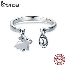 868f43512cb4 BAMOER 100% de Plata de Ley 925 ajustable conejo conejito de Pascua y los  huevos mujer anillo para las mujeres joyería de plata .
