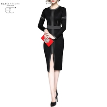 ElaCentelha Women Dress New Fashion Long Sleeve O Neck Stripe Patchwork Knitted Split Pencil Dress Office
